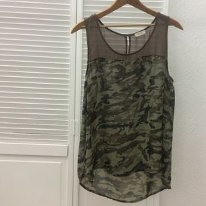 Anthropologie Sleeveless Camo Tank- Size L
